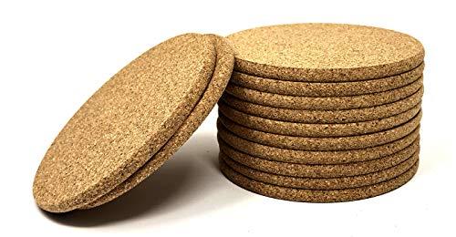 Kork Untersetzer-rund Pebble Pebble Cork Drink Untersetzer 10,2cm mit abgerundeten Kanten Pack von 12-Schützt Möbel vor und kalte Getränke-Untersetzer für Getränke