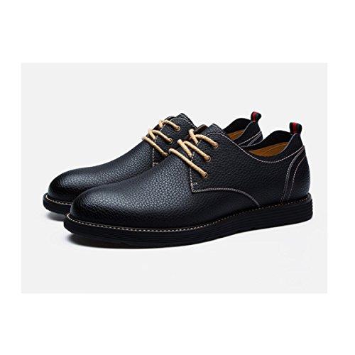 Lyzgf Hombres Primavera Y Otoño De Moda Informal Zapatos De Cuero De Encaje Cabeza Redonda Negra