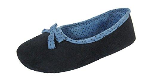 Donna Caldo Spot fiocco interno in camoscio sintetico Pantofole Blu