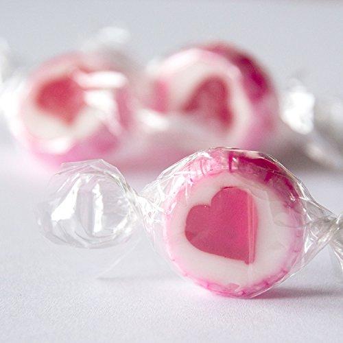 Rocks Herzbonbons Süssigkeit rosa weiß als süße Tischdeko zu Hochzeit Taufe Kommunion oder Valentinstag (500g)
