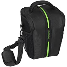 Pedea SET012-65060302-0010 - Funda para cámara Canon EOS 60D, 550D, 600D, 650D y Nikon D5200 (incluye lámina protectora de pantalla, correa, 5 compartimentos para accesorios y espacio para cámara y objetivo), color negro