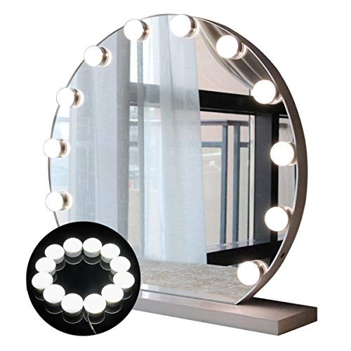Guckmall LED Spiegelleuchten,Schminktisch Leuchte ,Hollywood-Stil 12 Led Schminklicht Spiegellampe ,538cm Verstellbare Länge Schminkspiegel Beleuchtung Schmink Lampe, 5 Helligkeitsstufen Dimmbaren Schminkspiegel 7000K Schminkleuchte