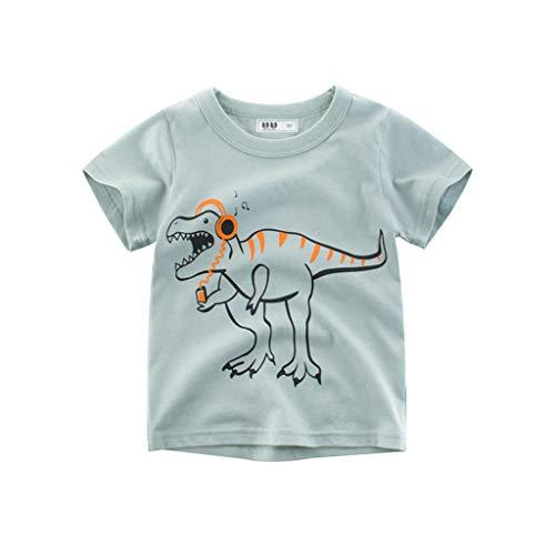Giulogre Manches Courtes Dinosaure Tigre Garçon Manches Courtes Chemise Bébé Imprimé Cartoon Cotton T-Shirt pour 12 Mois - 5 Ans Enfants Unisex