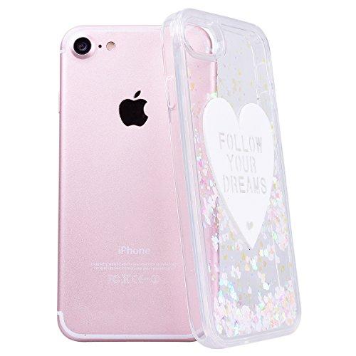 WE LOVE CASE iPhone 7 Coque, Étui Transparente de Protection en Premium Hard Plastique Dur Housse Liquide et Clair, Bumper Bling Cas Briller Couverture avec Paillette Ecoulement Flottant Motif Brillia blanc