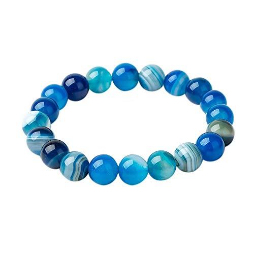 FG Jewels Bracelet Hommes/Femmes Bracelet Pierre Naturelle Lithothérapie Agate Bleue Perles 8mm Bracelet Bien-Etre Bracelet Protection Bracelet Porte Bonheur