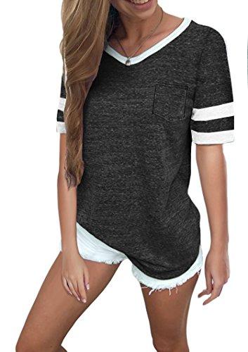 Ehpow Damen Kurzarm T-Shirt V-Ausschnitt Casual Sommer Lose Shirt Oversize Oberteile (Large, Schwarz)