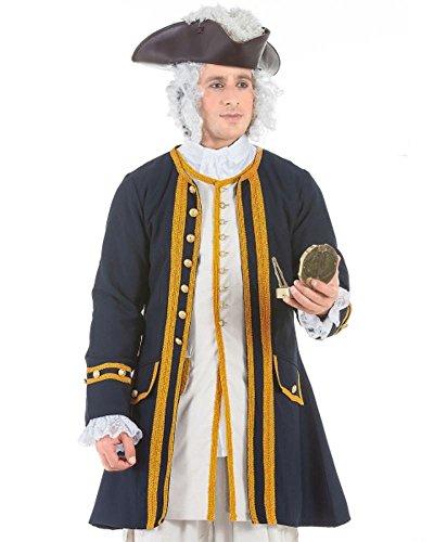 Edler Piratenmantel Admiral - Larp Kleidung - Mantel Pirat Mittelalter Barock Renaissance Bekleidung Kostüm Authentisch, Grösse:XL, Farbe:Blau-Grau / Gold