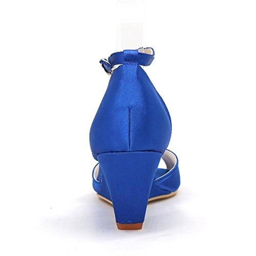 Ei&iLI Women 's scarpe da sposa in raso Open Toe fibbia Wedge scarpe partito dei vestiti da damigelle EU36-EU43 Gold