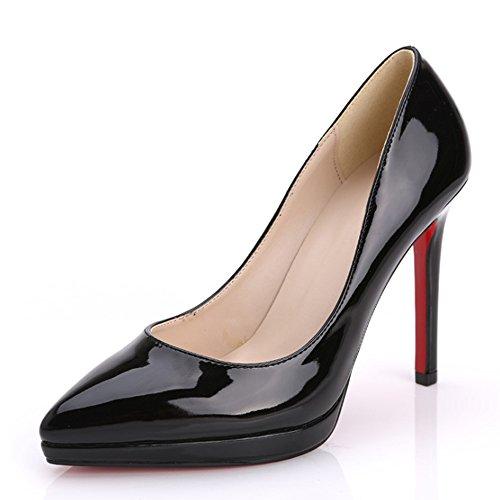 Escarpins Femme Talon Aiguille Fermeture A Enfiler Chaussure Pointue A Talons Noir