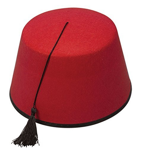 Kostüm Fez Rote (Unisex Fez aus rotem Filz mit schwarzer Quaste für Kostüm - Rot,)