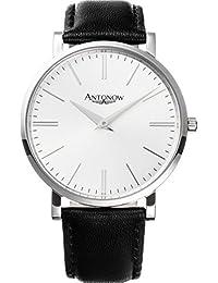 Antonow - 40mm Luxus Piloten Flieger Armbanduhr A1- Kristian Silber für Herren aus Edelstahl mit schwarzem Leder Armband und Glas mit Saphir Beschichtung- Antonov
