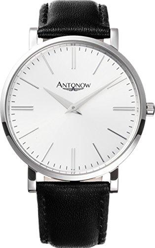 Antonow - 40mm Luxus Piloten Flieger Armbanduhr A1- Kristian Silber für Herren aus Edelstahl mit schwarzem Leder Armband - Antonov (Schwarz Stahl Armbanduhr Fossil)