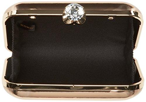 Swanky Swans - Ari Metallic Patent Box Clutch, Pochette da giorno Donna Oro (Champ / Rose Gold)