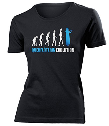 love-all-my-shirts QUERFLÖTERIN Evolution 4589 Damen T-Shirt (F-SW-Weiss-Blau) Gr. XXL