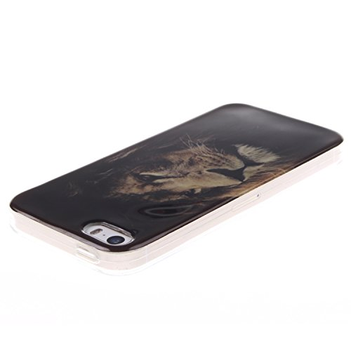 BONROY® Silikon Handy hülle für Apple iPhone 5S TPU Gummi Taschen Weich Soft Back cover,Ultra Slim Skin TPU Fall-Abdeckung Protective Bumper für Apple iPhone 5S Löwe