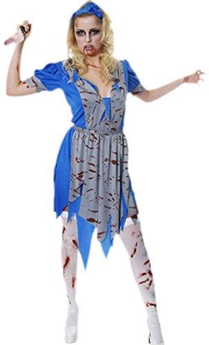 erdbeerclown - Unisex - Erwachsene Horror Prinzessinnen Kleid mit Blutspritzer, onesize, Blau