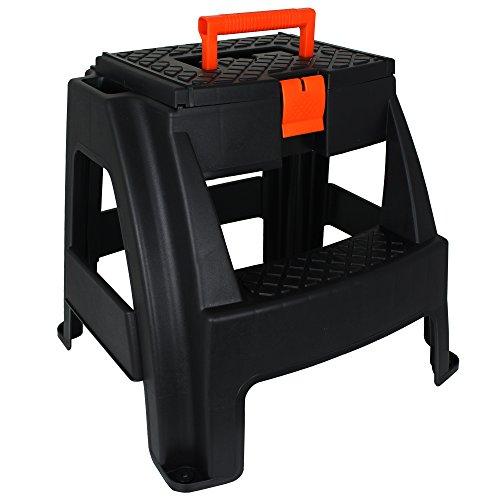 Hocker mit Werkzeugkiste - Werkzeugtruhe - Tritthocker mit Aufbewahrungsfach - Werkzeugkasten