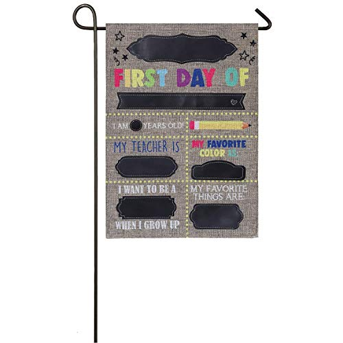 AHISHNF Gartenflagge First Day of School, doppelseitig, 30,5 x 45,7 cm
