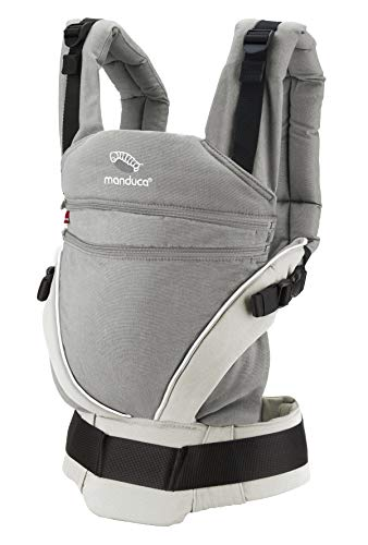 manduca XT > Cotton grey-white < Babytrage für Neugeborene mit verstellbarem Steg, 3 Trage Positionen, flexibles Tragesystem, Bio-Baumwolle, für Babys ab Geburt & Kleinkinder bis 20kg (grau/weiß)