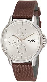 ساعة بمينا ابيض وسوار جلد بني للرجال من هوغو بوس - 1530023