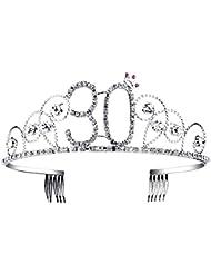 Babeyond Couronne Anniversaire 30 Ans Bandeau Anniversaire Bling Cristal Tiara Couronne Joyeux Anniversaire 16/18/20/21/30/40/50/60/70/80/90 Ans