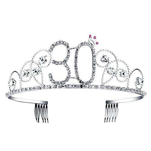 BABEYOND® Kristall Geburtstag Tiara Birthday Crown Prinzessin Kronen Haar-Zusätze Silber Diamante Glücklicher 18/20/21/30/40/50/60 Geburtstag (30 Jahre alt)