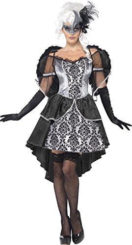 Smiffys, Damen Dark Angel Kostüm, Kleid und Flügel, Größe: L, (Dark Für Flügel Angel Halloween)