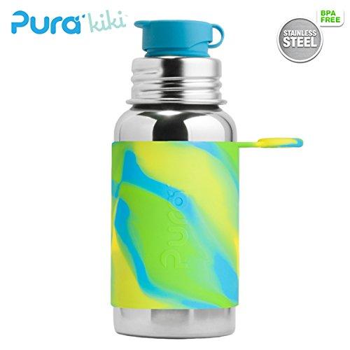 PuraSport™ Flasche - 500ml - BigMouth™ Aufsatz (inkl. Silikonüberzug) Pura Farbe/Design Blank + Blue Swirls Überzug