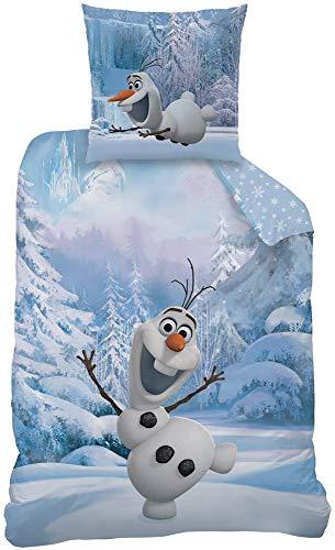 Frozen Kinder Wende-Bettwäsche Die Eiskönigin Snowman Olaf 135x200 + 80x80 cm 100{32606223912b20544e44ecb4c852e45a047022c19480c94db672fd67998ebff2} Baumwolle Linon Anna Elsa Sven Kristoff Schneemann Arendelle Disney Filme Movie Bettzeug Bettbezug deutsche Größe