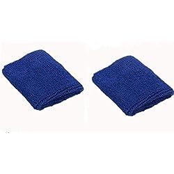 zedtom 2pcs Deportes Seguridad al aire libre baloncesto entrenamiento muñeca algodón toalla de sudor de muñeca, azul