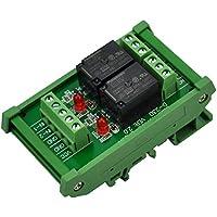 ELECTRONICS-SALON montaje en carril DIN 2 SPDT Relé de potencia del módulo de interfaz, OMRON 10 relé, 12 V bobina.