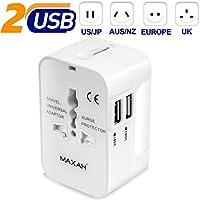 MAXAH Adaptador Universal Enchufe de Viaje Cargador Internacional con 2 USB para US EU UK AU acerca de EU/UK/US/AU 150 Países 1A, (Blanco)