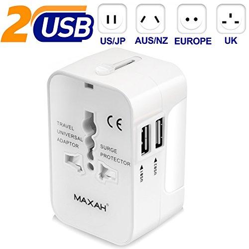 Adaptateur universel prise usb pour un meilleur voyage MAXAH Adaptateur universel de voyage avec 2 ports USB Tout en un adaptateur international adapt...