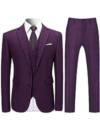 Costume Trois-pièces Homme Veste+Gilet+Pantalon de Couleur Unie Business Mode Slim Fit Formel avec Deux Boutons