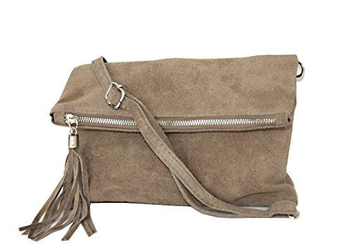 zarolo Damen Umhängetasche,Tasche klein, Schultertasche, Cross Body, Leder Clutch echtes Leder, Handtasche Italienische Handarbeit M20592 - Leder Schultertasche Handtasche Tasche