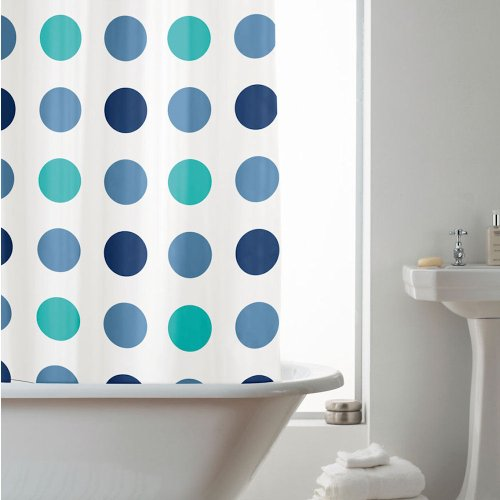 Duschvorhang mit Aqua Punkten 180 x 180 cm (PVC Frei | PEVA) und 12 C-Ringen thumbnail