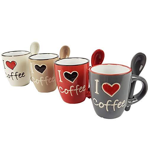 Buystar set 4 tazzine cuore con cucchiaino | set multicolore in ceramica | tazza da 100ml | con pratico manico porta cucchiaino