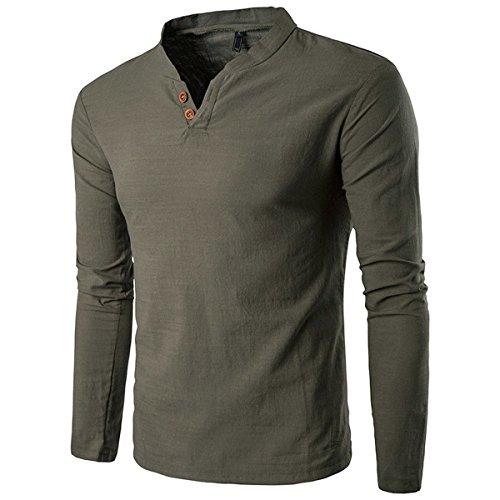 donhobo Herren Langarm Shirt Henley Slim Fit Lässige Long Sleeve T-Shirt(01Grün,XL) (Camo Henley Shirt)