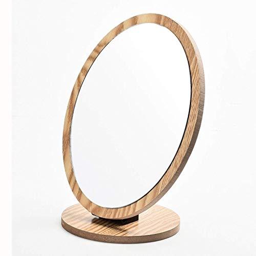 takestop® Kosmetikspiegel rund aus Holz ESY_52778 Tisch Badmöbel TrUCCO Make UP tragbar