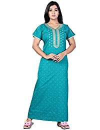 Bailey sells Printed Cotton Nighty Night Gown/ Night Dress for Women Free Size Rama Green