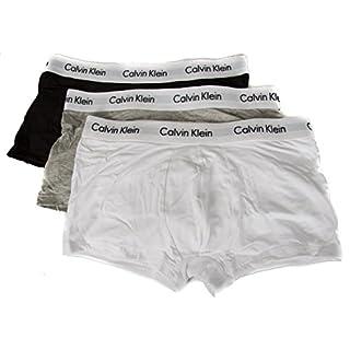 Calvin Klein Herren Boxershorts LOW RISE TRUNK, 3er Pack 0000U2662G998004, Mehrfarbig (schwarz/weiß/grau), L
