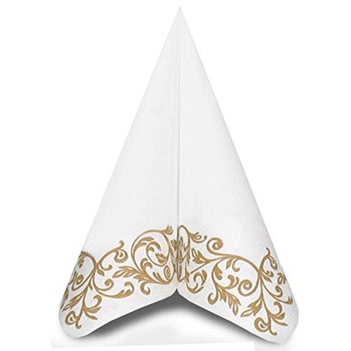 Mank Rob Airlaid Servietten Stoffähnlich 40x40cm 50 Stück pro Packung Hochwertig Stoffoptik Hochzeitsservietten Ornament Geburtstag Hochzeit in gold