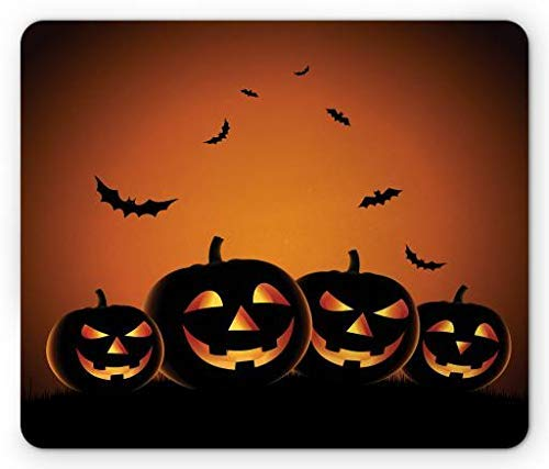 Spooky Smiling Pumpkins with Flying Bat Silhouettes Dark Night, Standard Size Rectangle Non-Slip Rubber Mousepad, Burnt Orange Mustard Black ()