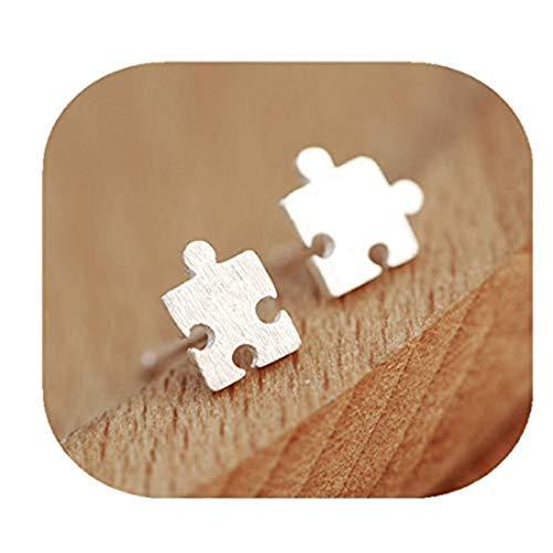 Pendientes de rompecabezas de plata, pendientes de rompecabezas, pequeños pendientes de pieza, joyería de puzle, pendientes mínimos