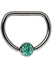 Piercing De Pecho Titanio anillo D 1,6 x 12 mm con 5 mm Bola de piedra en muchos Colores seleccionable