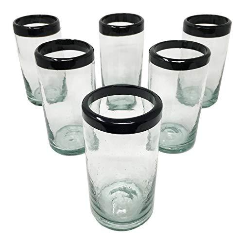 LA MEXICANA mexikanisches mundgeblasenes Trinkglas kobaltfarbener Rand aus recyceltem Glas, 454 ml 6er Set Black Style -