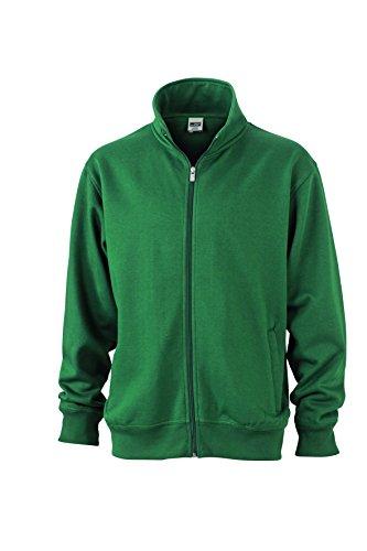 James & Nicholson Herren Workwear Sweat Jacket Sweatshirt, Grün (Dark-Green), XX-Large