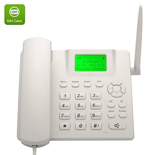 Shopinnov- Teléfono de escritorio inalámbrico (cuatribanda, GMS, función SMS), manos libres, color blanco