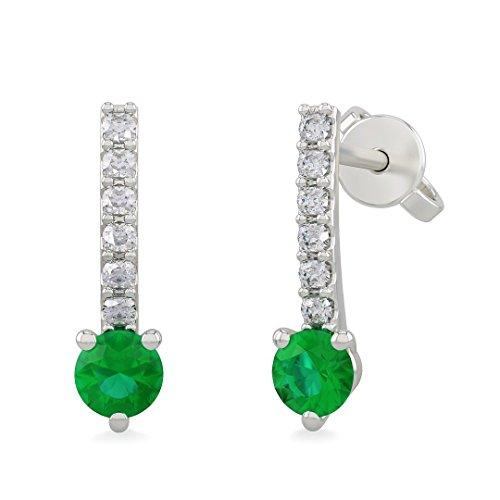 Orecchini donna SARA in oro bianco 18kt e palladio con diamanti e smeraldo