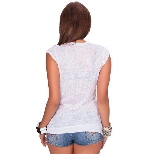 24brands Damen Frauen T-Shirt Top Sommer sweatshirt Top shirts Rundhals Kurzarm mit Nieten XS S M L Weiß